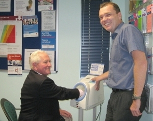 Chairman of The Friends of Chiddingfold Surgery and Dr Watts with the new Blood Pressure Machine